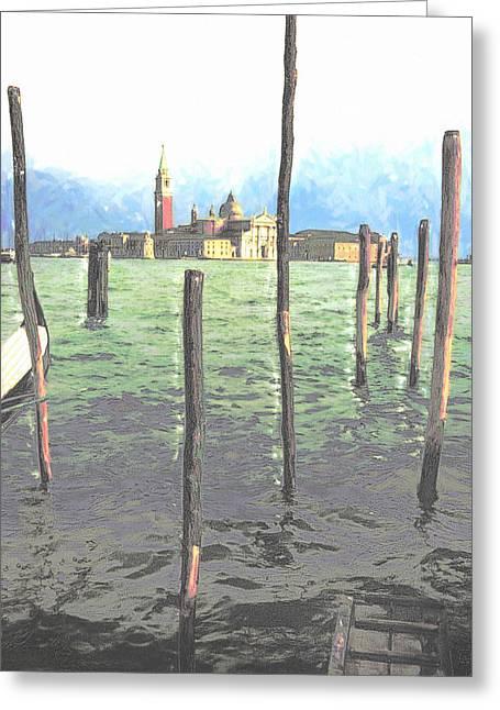 Best Seller Pastels Greeting Cards - Gondola moorings Greeting Card by Jon Delorme