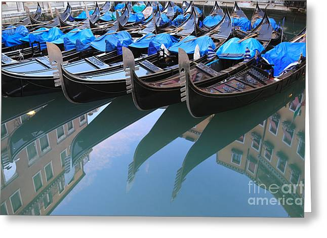 Prow Greeting Cards - Gondola reflections Greeting Card by Matteo Colombo