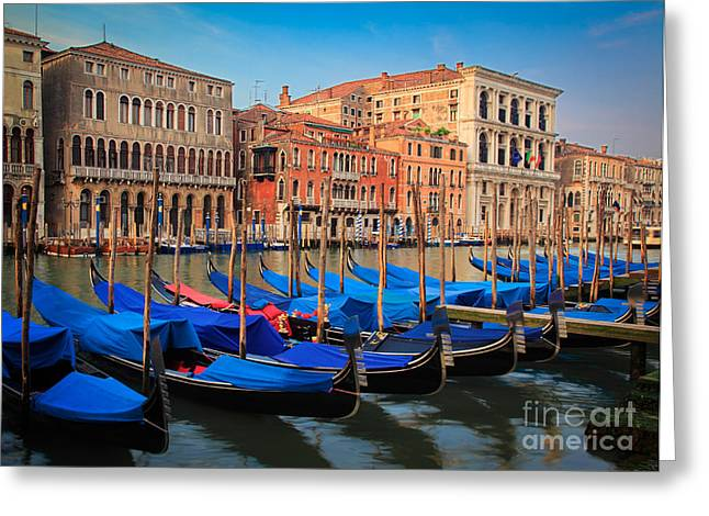 Canal Grande Greeting Cards - Gondola Row Greeting Card by Inge Johnsson