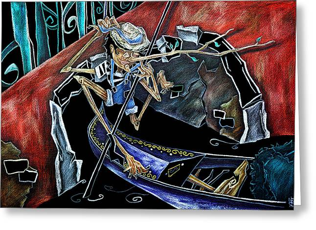Gondolier Drawings Greeting Cards - Gondola Travel Venice Italy - Viaggi e Avventure di Pinocchio Gondoliere in Italia Greeting Card by Arte Venezia