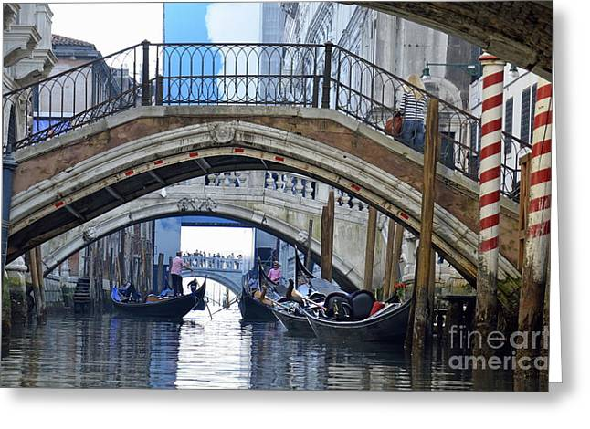Gondolas And Bridges On Canal Greeting Card by Sami Sarkis