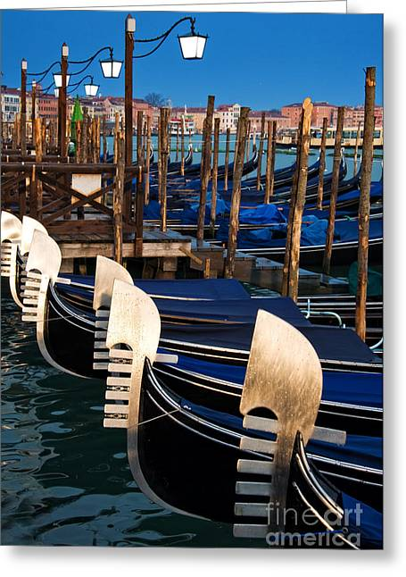 Boat Cruise Greeting Cards - Gondolas at night Greeting Card by Delphimages Photo Creations