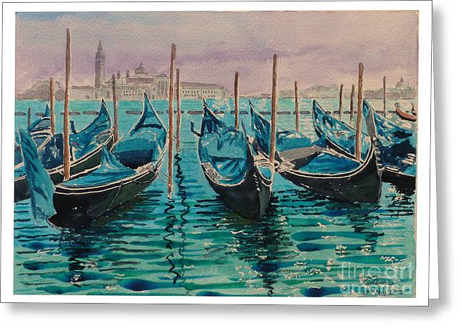 Gondolas at the pier Venice Greeting Card by Godwin Cassar