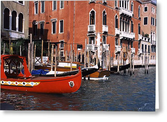 Water Vessels Greeting Cards - Gondolas In A Canal, Grand Canal Greeting Card by Panoramic Images
