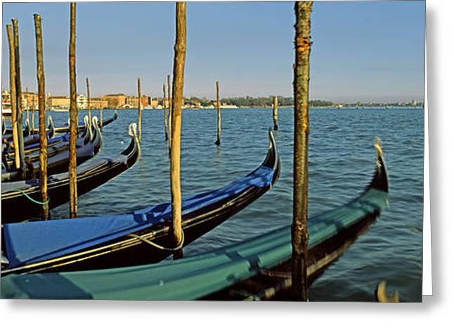 Gondolas In A Grand Canal, Venice Greeting Card by Panoramic Images
