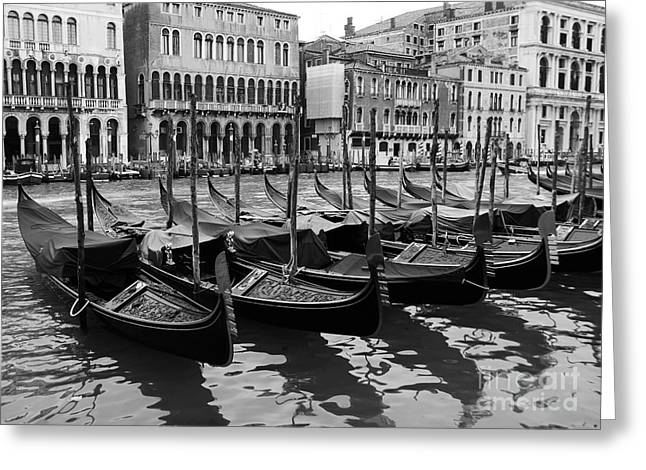 Italy Canal Greeting Cards - Gondolas In Black Greeting Card by Mel Steinhauer