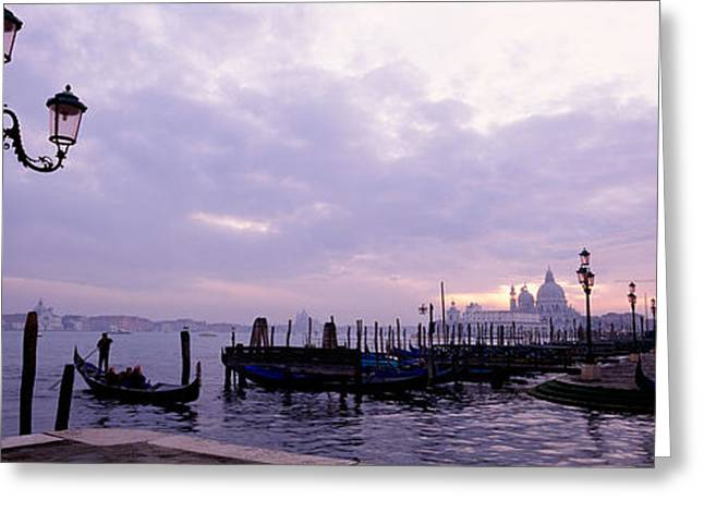 Italian Sunset Greeting Cards - Gondolas In Canal With A Church Greeting Card by Panoramic Images