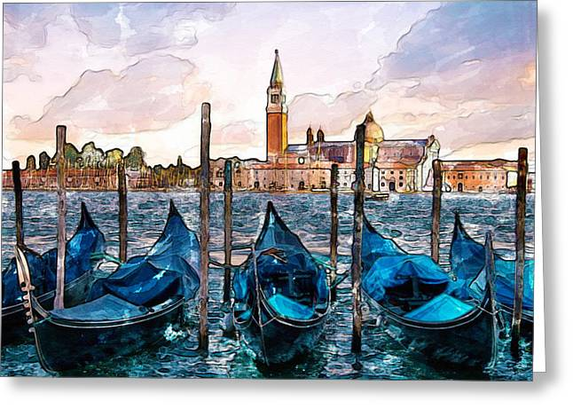 Gondolas In Venice Watercolor Greeting Card by Marian Voicu