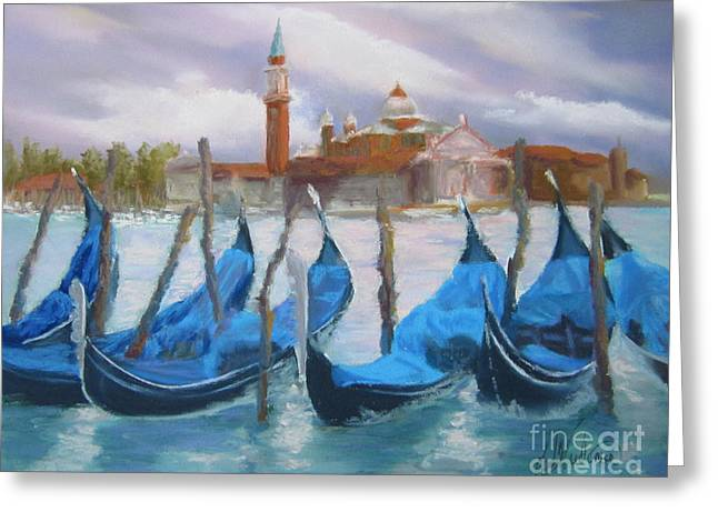 Italian Landscape Pastels Greeting Cards - Gondolas in Waiting Greeting Card by Leah Wiedemer