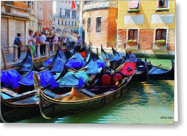 Canal Greeting Cards - Gondolas Greeting Card by Jeff Kolker