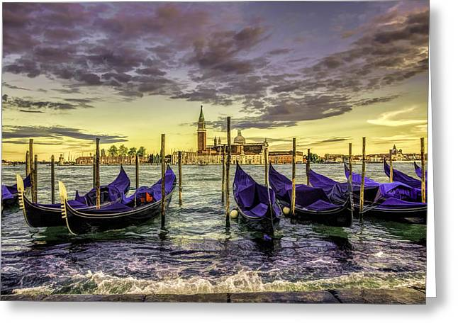 Italian Sunset Greeting Cards - Gondolas Greeting Card by Maria Coulson