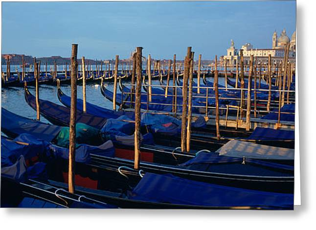 Italian Sunset Greeting Cards - Gondolas Moored At A Harbor, Santa Greeting Card by Panoramic Images