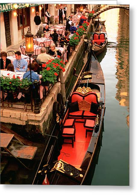 Pot Boat Greeting Cards - Gondolas Moored Outside Of A Cafe Greeting Card by Panoramic Images