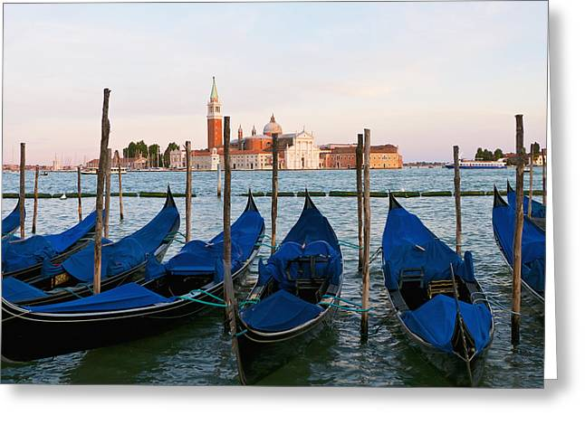 Holy Vessels Greeting Cards - Gondolas On The Grand Canal By St Marks Greeting Card by Tania Cagnoni