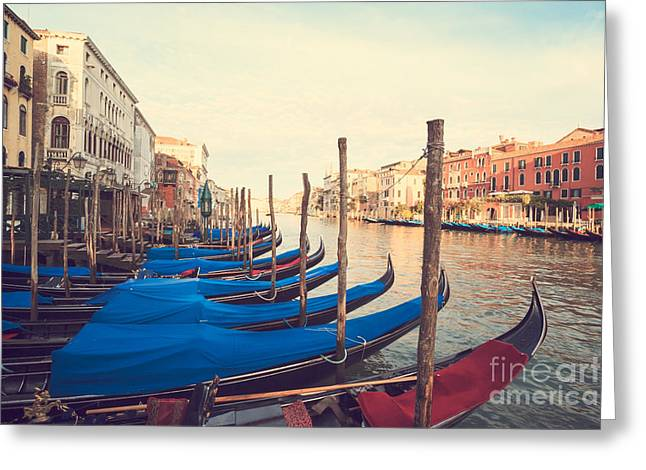 Vaporetto Greeting Cards - Gondolas on the Grand - Venice Greeting Card by Matteo Colombo
