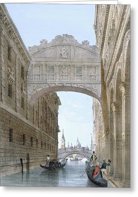 Gondolas Passing Under The Bridge Of Sighs Greeting Card by Giovanni Battista Cecchini