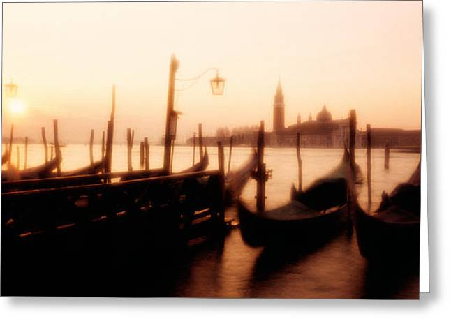 Streetlight Greeting Cards - Gondolas San Giorgio Maggiore Venice Greeting Card by Panoramic Images