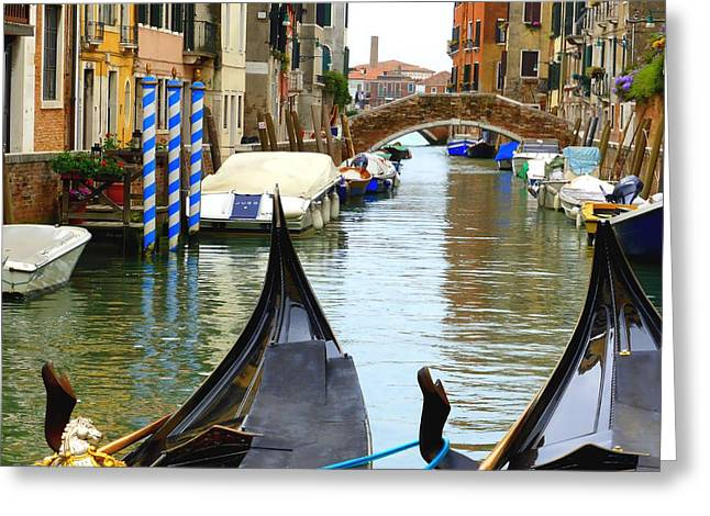 Bridge Greeting Cards - Gondolas to the Fore Greeting Card by Bishopston Fine Art