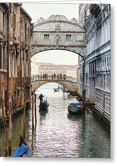 Venice Journey Greeting Cards - Gondolas Under Bridge of Sighs Greeting Card by Susan  Schmitz