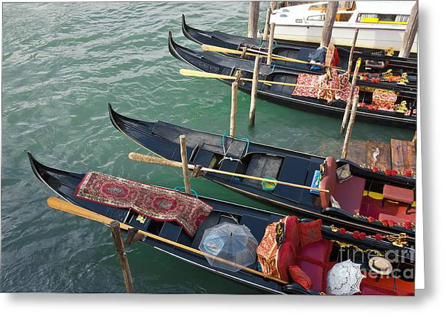 Water Vessels Greeting Cards - Gondolas waiting for tourists in Venice Greeting Card by Kiril Stanchev