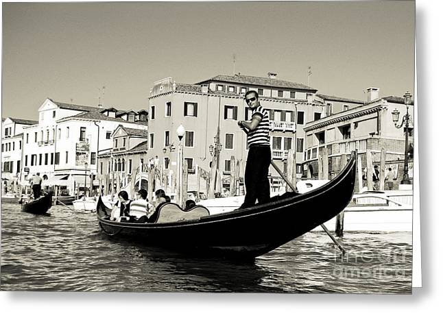 Boats In Water Greeting Cards - Gondolier in Back and White Greeting Card by John Malone Halifax Photographer