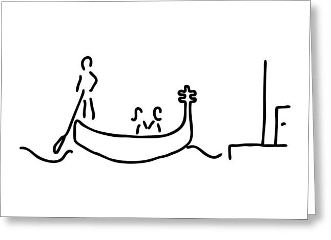 Gondolier Drawings Greeting Cards - gondolier in gondola in Venice Greeting Card by Lineamentum
