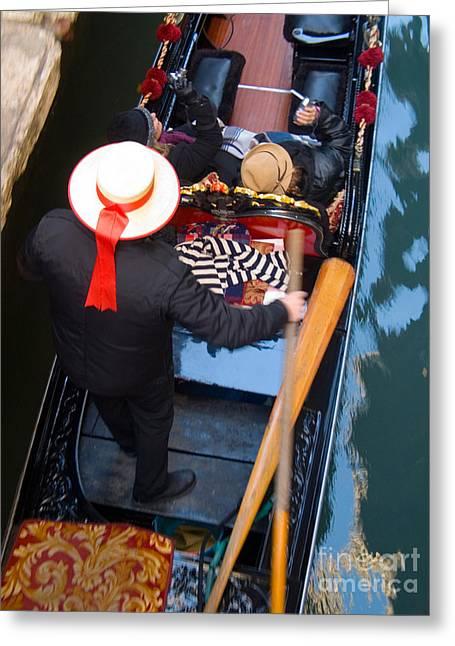 Gondolier Greeting Cards - Gondolier In Gondola Greeting Card by Tim Holt