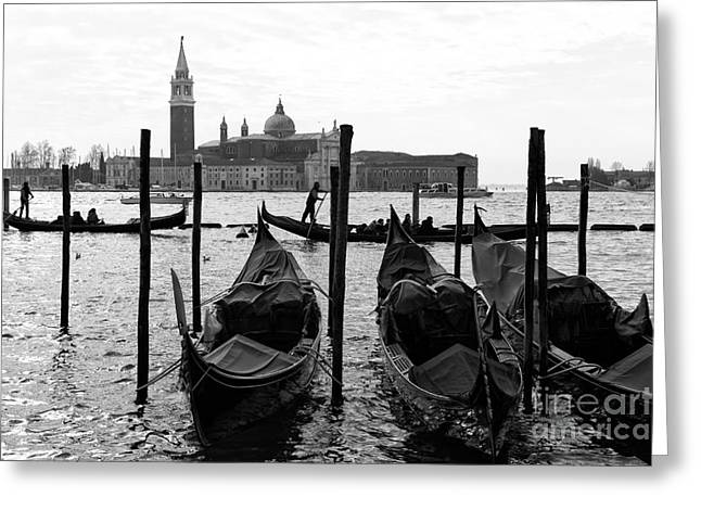 Gondolier Greeting Cards - Gondolier Rowing Greeting Card by John Rizzuto