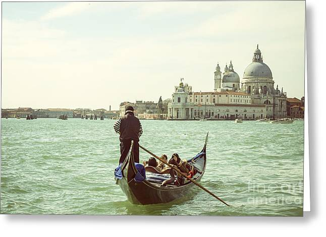 Gondolier Greeting Cards - Gondolier with tourists in Venice Greeting Card by Patricia Hofmeester