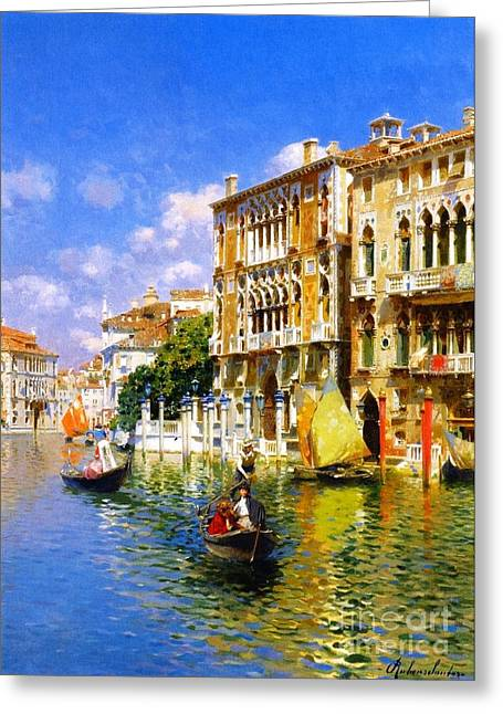 Gondolier Greeting Cards - Gondoliers In Venice Greeting Card by Pg Reproductions