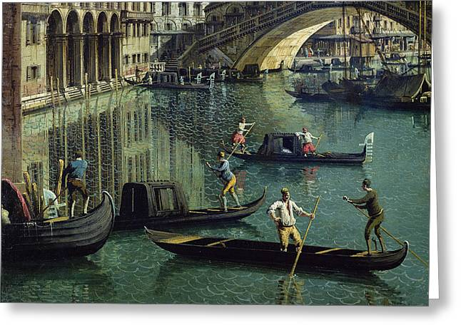 Venetian Architecture Greeting Cards - Gondoliers Near The Rialto Bridge, Venice Oil On Canvas Detail Of 155335 Greeting Card by Canaletto
