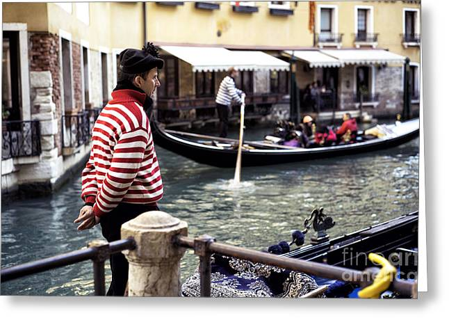 Striped Shirt Greeting Cards - Gondoliers View Greeting Card by John Rizzuto