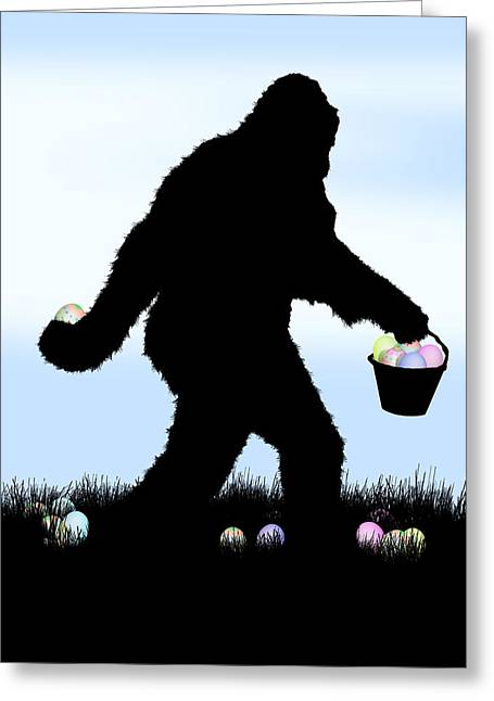 Urban Legend Greeting Cards - Gone Easter Squatchin Greeting Card by Gravityx Designs