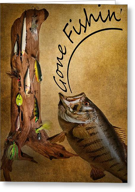 Gone Fishin Greeting Card by Bill Wakeley