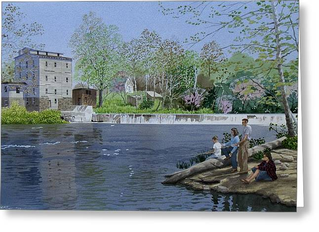 Indiana Rivers Paintings Greeting Cards - Gone fishin Greeting Card by C Robert Follett