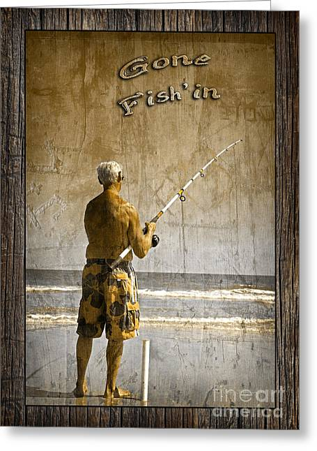 Water In Caves Greeting Cards - Gone Fishin with Text Rustic Wood Border by John Stephens Greeting Card by John Stephens