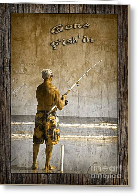 Gone Fish'in With Text Rustic Wood Border By John Stephens Greeting Card by John Stephens