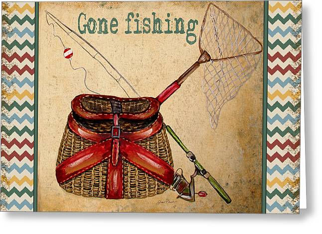 Brown Trout Greeting Cards - Gone Fishing-Chevron Greeting Card by Jean Plout