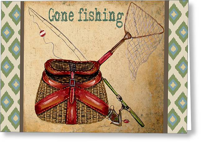 Brown Trout Greeting Cards - Gone Fishing-IKAT Greeting Card by Jean Plout