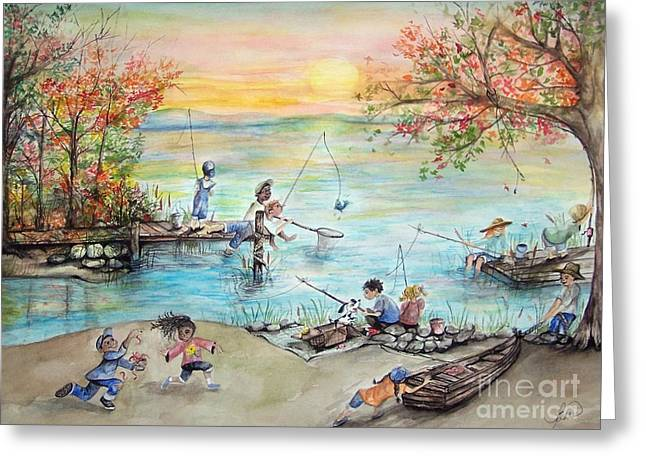 Laneea Tolley Greeting Cards - Gone Fishing Greeting Card by Laneea Tolley