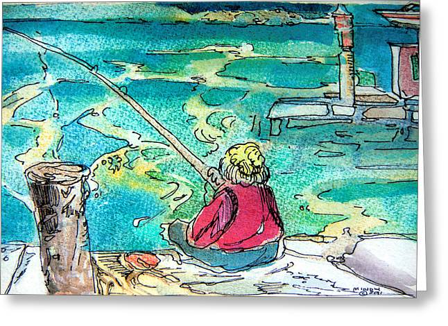 Docked Boat Mixed Media Greeting Cards - Gone Fishing Greeting Card by Mindy Newman