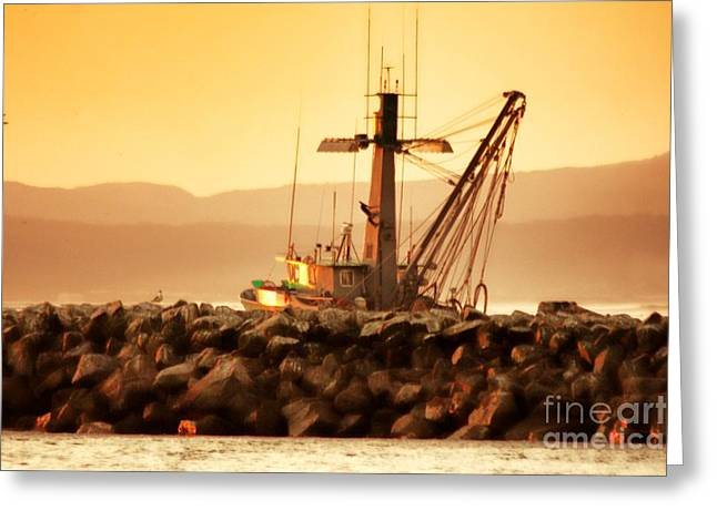 Moss Landing Boats Greeting Cards - Homeward Bound  Greeting Card by Polly Peacock