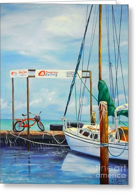 Keyes Greeting Cards - Gone Sailing Greeting Card by Gisele Long