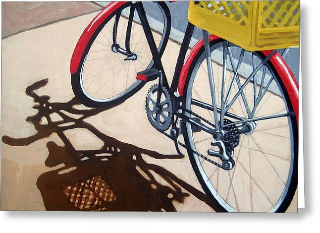 Cycling Paintings Greeting Cards - Gone Shopping Bicycle Greeting Card by Linda Apple