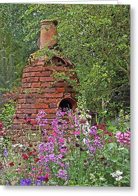Garden Scene Greeting Cards - Gone To Pot - The Potters Flower Garden Greeting Card by Gill Billington