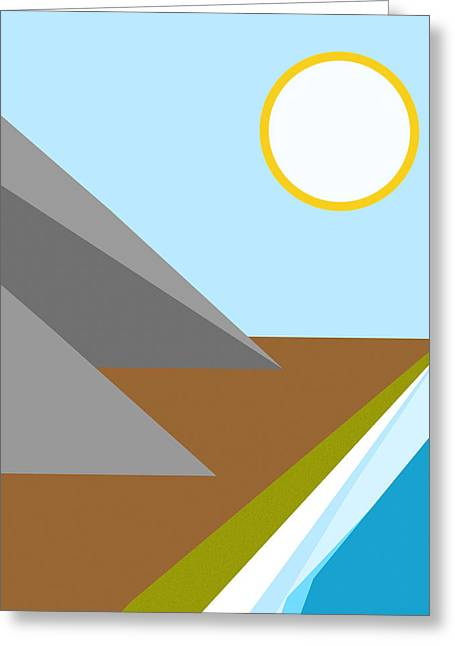 Beach White Posters Greeting Cards - Gone to the Beach Minimalist Poster Greeting Card by Celestial Images