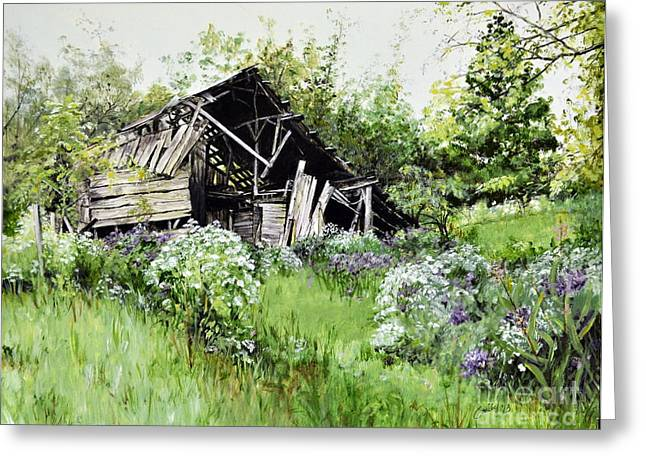 Tennessee Barn Paintings Greeting Cards - Where the Wildflowers Bloom Greeting Card by Emily Land