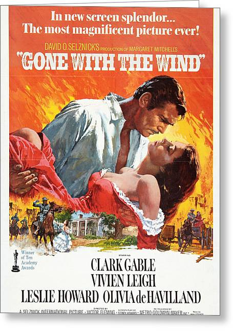 Gable Greeting Cards - Gone With the Wind - 1939 Greeting Card by Nomad Art And  Design