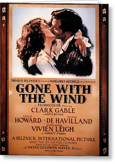 Historical Pictures Mixed Media Greeting Cards - Gone With The Wind Movie Poster 1939 Greeting Card by Mountain Dreams