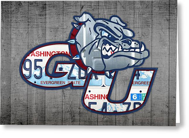 Sport Teams Greeting Cards - Gonzaga Bulldogs College Sports Team Retro Vintage Recycled Washington State License Plate Art Greeting Card by Design Turnpike